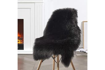 (2*3 sheepskin, Black) - Ciicool Faux Sheepskin Rugs Soft Faux Fur Rugs Black Fluffy Rugs Chair Couch Cover Fuzzy Rugs for Bedroom Floor Sofa Living Room 0.6m x 0.9m