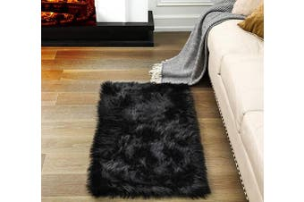 (2*1.2m Rectangle, Black) - Soft Fluffy Rugs Faux Fur Area Rug, Fur Rugs for Bedroom, Fuzzy Carpet for Living Room, Black Rectangle 0.6m x 1.2m, Ciicool