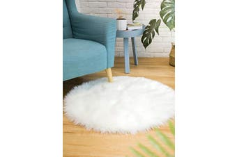 (3*0.9m Round, White) - CIICOOL Soft Faux Sheepskin Fur Area Rugs Round Fluffy Rugs for Bedroom Silky Fuzzy Carpet, Furry Rug for Living Room Girls Rooms, White 0.9m x 0.9m