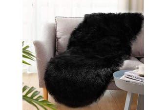 (2*1.8m Sheepskin, Black) - Ultra Soft Faux Sheepskin Fur Rug Fluffy Rug for Bedroom Fuzzy Carpet for Living Room Kid's Room Nursery Decor, Black 0.6m x 1.8m, Ciicool