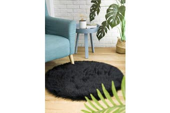(3*0.9m Round, Black) - CIICOOL Soft Faux Sheepskin Fur Area Rugs Fluffy Rugs for Bedroom Silky Fuzzy Carpet, Furry Rug for Living Room Girls Rooms, Black Round 0.9m x 0.9m