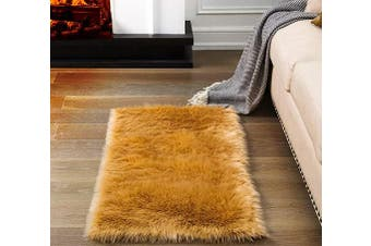 (2*1.2m Rectangle, Khaki) - Soft Fluffy Rugs Faux Fur Area Rug, Fur Rugs for Bedroom, Fuzzy Carpet for Living Room, Khaki 0.6m x 1.2m, Ciicool
