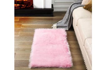 (2*1.2m Rectangle, Pink) - Soft Pink Fluffy Rugs Faux Fur Area Rug, Fur Rugs for Bedroom, Fuzzy Carpet for Living Room, 0.6m x 1.2m, Ciicool