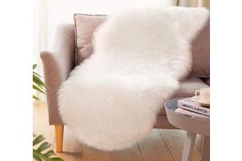 (2*1.8m Sheepskin, White) - Ultra Soft Faux Sheepskin Fur Rug Fluffy Rug for Bedroom Fuzzy Carpet for Living Room Kid's Room Nursery Decor, White 0.6m x 1.8m, Ciicool