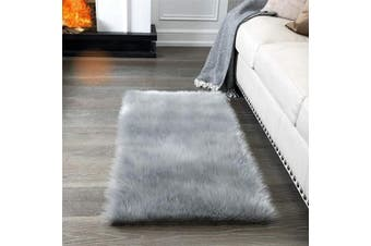 (2*1.2m Rectangle, Grey) - Super Soft Fluffy Rug Faux Fur Area Rug, Fur Rugs for Bedroom, Fuzzy Carpet for Living Room, 0.6m x 1.2m, Ciicool (Light Grey)