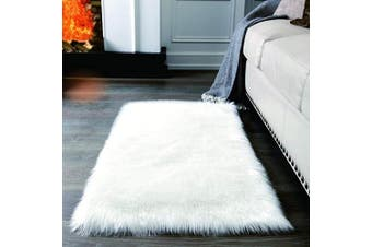 (2*1.2m Rectangle, White) - Super Soft White Fluffy Rug Faux Fur Area Rug, Fur Rugs for Bedroom, Fuzzy Carpet for Living Room, 0.6m x 1.2m, Ciicool