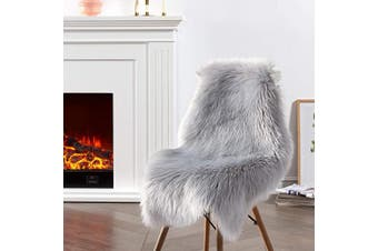 (2*3 sheepskin, Grey) - Ciicool Faux Sheepskin Rugs Soft Faux Fur Rugs Grey Fluffy Rugs Chair Couch Cover Furry Rugs for Bedroom Floor Sofa Living Room 0.6m x 0.9m