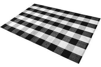 (90cm ×150cm , Black/White) - SEEKSEE 100% Cotton Plaid Rugs Black/White Chequered Plaid Rug Hand-Woven Buffalo Chequered Doormat Washable Porch Kitchen Area Rugs (90cm ×150cm )