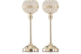 (33cm ) - Skyera Gold Crystal Candle Holders Set of 2, Dining Table Tall Taper Tealight Candlestick Home Decoration Gifts for Valentines Day/Wedding/Thanksgiving/Birthday/Housewarming (33cm )