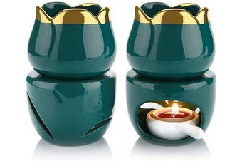 (Dark Green) - T4U Wax Melt Burners Essential Oil Burner Set of 2, Aromatherapy Aroma Burner Ceramic Oil Diffuser Candle Tealight Holder Home Bedroom Decor Christmas Housewarming Gift