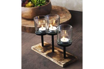 Le'raze Elegant, Decorative Votive Candle Holder Centrepiece, 3 Glass Votive Cups On Wood Base/Tray for Wedding Decoration Dining Table