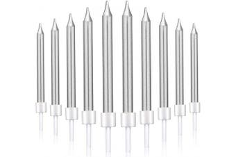 (Short, Silver) - 50 Pieces Birthday Cake Candles Thin Cake Cupcake Candles in Holders for Birthday Wedding Party Cake Decorations Supplies (Silver, Short)