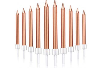 (Short, Rose Gold) - 50 Pieces Birthday Cake Candles Thin Cake Cupcake Candles in Holders for Birthday Wedding Party Cake Decorations Supplies (Rose Gold, Short)