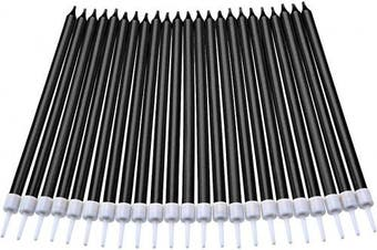 (Long, Black) - 50 Pieces Birthday Cake Candles Thin Cake Cupcake Candles in Holders for Birthday Wedding Party Cake Decorations Supplies (Black, Long)