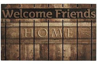 (Color-b) - YK Decor Outdoor Welcome Mats for Front Door Entrance Non Slip Rubber Door Mat Heavy Duty Doormat Shoes Scraper Indoor Low-Profile Mats for Entry Garage Patio High Traffic Areas (Colour-b)
