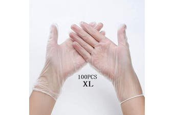 (X-Large) - Disposable Vinyl Guantes 100Pcs, Disposable Safety Glves Protective Glves, Powder Free, Latex Free for Kitchen Cooking Cleaning Mechanics, Automotive, Industrial, Food Handling -Clear(X Large)