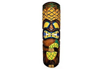 All Seas Imports 50cm Handcarved Wood Vibrant Design Triple Pineapple Tiki Mask with Gorgeous Colour!