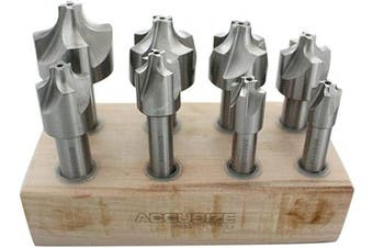(from 0.2cm  - 1cm , 8 Pcs/Set) - Accusize Industrial Tools H.S.S. Corner Rounding End Mill Set Size from 0.2cm - 1cm , 8 Pcs, 1011-0008
