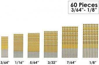 (0.1cm  - 0.3cm ) - amoolo Titanium Drill Bit Set (60 pcs), Premium 4341 HSS Micro Drill Bits for Wood, Metal, Steel, Plastic, Aluminium Alloy, 0.1cm - 0.3cm