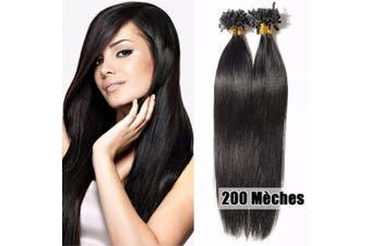 (50cm -100g, 01# Jet Black) - U Tip Pre Bonded Human Hair Extensions 100g 200 Strands Real Hair Extension Remy Hair Keratin Nail Long Straight for Women,50cm #1 Jet Black