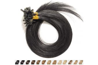 (60cm -50g, 01# Jet Black) - U Tip Human Hair Extensions Jet Black 1# 60cm 50g 100Strands 100% Real Remy Hair Pre Bonded Hair Extension Straight