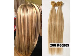 (60cm -100g, #12/613 Light Golden Brown/Bleach Blonde) - Human Hair Extensions U Tip 100g 200 Strands Pre Bonded Real Hair Extension Remy Hair Keratin Nail Long Straight for Women,60cm #12/613 Light Golden Brown/Bleach Blonde