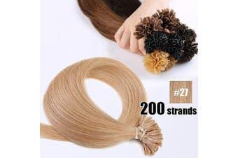 (46cm -100g, 27# Dark Blonde) - Pre Bonded Human Hair Extensions U Tip 100g 200 Strands Real Hair Extension Remy Hair Keratin Nail Long Straight for Women,46cm 27# Dark Blonde