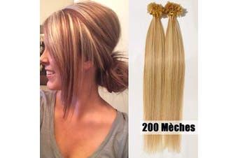 (46cm -100g, #18/613 Ash Blonde/Bleach Blonde) - U Tip Pre Bonded Hair Extensions 100g 200 Strands Remy Real Human Hair Extension Keratin Nail Long Straight for Women,46cm #18/613 Ash Blonde/Bleach Blonde