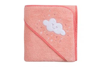 (Coral) - ClevaMama Apron Hooded Baby Towel - Bath Towel With Hood, Soft Cotton Bath Wrap, Coral