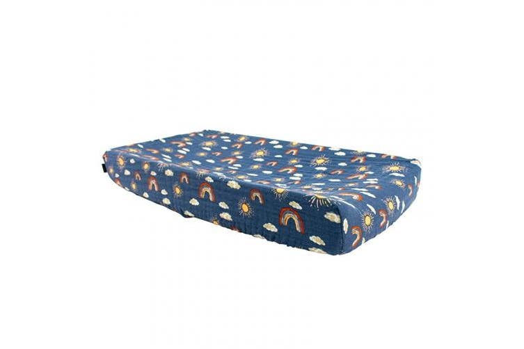(Hello Sunshine) - Bebe au Lait Classic Muslin Changing Pad Cover, 100% Cotton Muslin, One Size Fits Most - Hello Sunshine