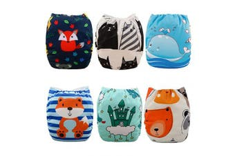 (One Size, Boy Color 06) - Babygoal Cloth Nappies for Boys, Adjustable Reusable Nappy 6pcs Nappies+6pcs Microfiber Inserts+4pcs Bamboo Inserts 6YDB06
