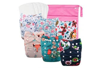(One Size, Girl Color 08) - Babygoal Reusable Cloth Nappies for Girls, Adjustable Washable Nappy 6pcs+ 6pcs Microfiber Inserts+One Wet Bag 6YDG08