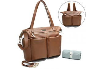 (Brown) - Leather Nappy Bag Backpack By Miss Fong, Nappy Bag Tote With Changing Pad, In Bag Organiser, Stroller Straps, Insulated Pockets and Shoulder Strap(Brown)