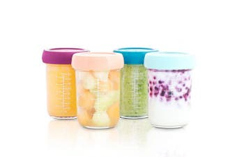 (Eco-Friendly Glass, X4) - Babymoov Glass Food Storage Containers | Leak Proof Stackable & Reusable Glass Jars (Pick Your Set Size)