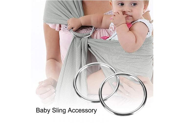 (Bright Silver) - Accmor Baby Sling Ring 7.6cm Aluminium Wrap Rings Soft Carrier Ring Accessory for Infants Toddlers Newborn Kids, Works with Your Own Material or Convert Wrap to Sling (Bright Silver)