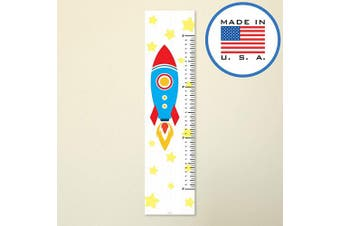 321Done Growth Chart for Baby, Kids Hanging Height Ruler, Cartoon Rocket Stars, Premium Vinyl Nursery Wall Decor Rocketship Blue Red - Made in USA