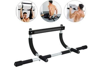(Silver) - 4YANG Pull Up Bars, Pull Up Sit Up Door Bar, Portable Chin-Up Upper Body Trainer Fitness Bar for Body Workout Doorway Indoor Home Gym Workout Fitness Equipment