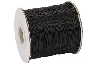 (0.5mm, Black) - Craftdady 185 Yards Waxed Polyester Cord 0.5mm Thick Braided Bracelet Jewellery Making Beading Thread String (Black)