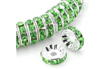 (8mm, Green) - Allb 100Pcs Rondelle Spacer Beads 8mm Silver Plated Czech Crystal Rhinestone for Jewellery Making Loose Beads for Bracelets