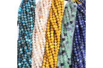 (6mm, Color 2) - Tacool 5 Strands Round 6mm Mookaite Jasper Fluorite Sodalite Agate Gemstone Beads for Jewellery DIY Making Loose Beads (Colour 2, 6mm)