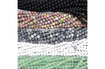 (8mm, Color 4) - Tacool 5 Strands Round Gemstone Beads Black Lava Zebra Jasper Green Aventurine White Turquoise for Jewellery DIY Making Loose Beads (Colour 4, 8mm)