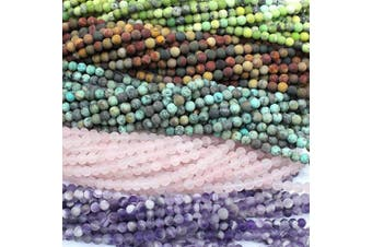 (6mm, Color 3) - Tacool 5 Strands Round Genuine Gemstone Beads 6mm Picasso Jasper Turquoise Rose Quartz Amethyst for Jewellery DIY Making Loose Beads (Colour 3, 6mm)