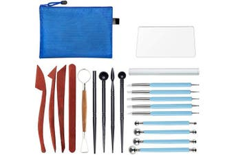 20 Pieces Modelling Clay Sculpting Tools Set Polymer Clay Tools Include Carving Modelling Tools, Pottery Tools,Ball Stylus Dotting Tools with a Zip Pouch for Pottery Sculpture