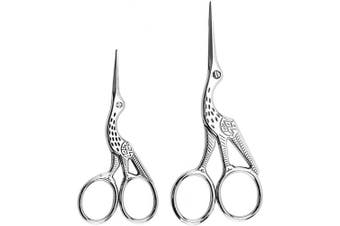 (Silver) - Acronde 2PCS Vintage Stork Shape Sewing Scissors Stainless Steel Tailor Scissors Sharp Sewing Shears for Embroidery, Sewing, Craft, Art Work & Everyday Use (Silver)
