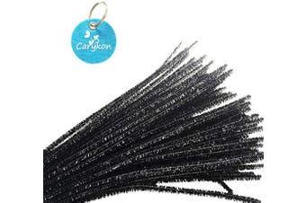 (Black) - Carykon 100 PCS 30cm Glitter Tinsel Creative Arts Chenille Stems Pipe Cleaners (Black)