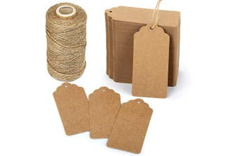Blisstime Gift Tags 200 Pcs Kraft Paper Tags Hang Tags Blank Tags with 100m Jute Twine String