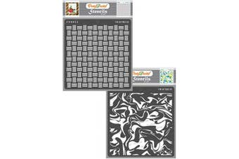 """(Basket Weave & Marble 6""""X6"""") - CrafTreat Texture Stencils for Painting on Wood, Canvas, Paper, Fabric, Floor, Wall and Tile - Basket Weave and Marble - 2 Pcs - 15cm x 15cm Each - Reusable DIY Art and Craft Stencils"""