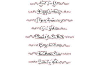 (Type 4) - Sentiments Happy Birthday Just for You Best Wishes Thank You Congratulations Clear Stamps for Card Making Decoration and DIY Scrapbooking