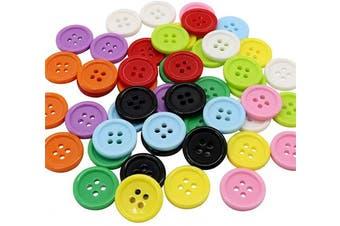 (Mixed color) - AKOAK 50 Pcs/Set 20mm DIY Button Colourful Candy Colour Four-Eye Children's Clothing Buckle Work Clothes Button (Mixed Colour)