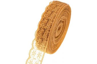 (Chocolate) - ATRibbons 25 Yards 2.2cm Wide Floral Pattern Lace Trim Roll Hemisphere Side Colourful Lace Fabric Ribbon for Sewing Making,Gift Wrapping and Floral Decoration (Chocolate)